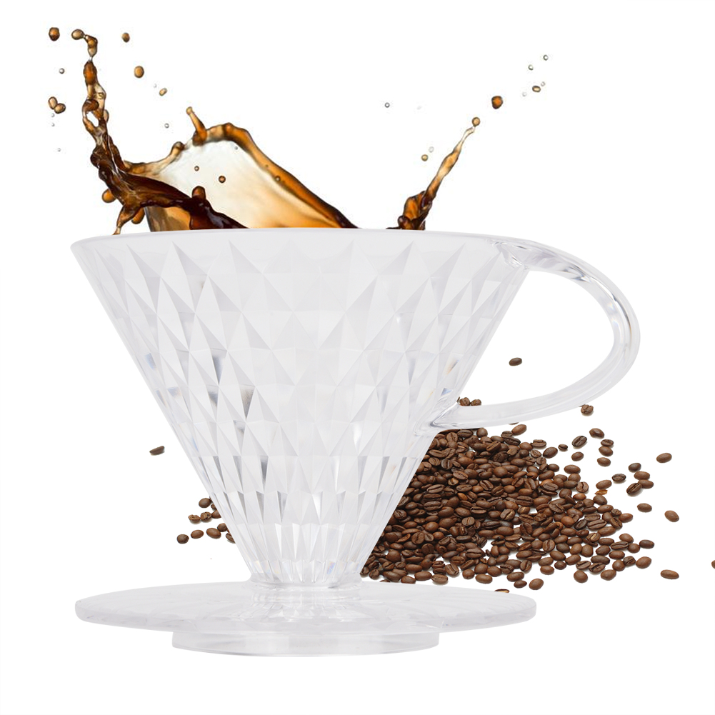 Coffee Filter Cup V60 Hand-Washed Coffee Drip Filter Cup Crystal Shape Drip Cup Brewing Cup Coffee Matching Utensils Transparent