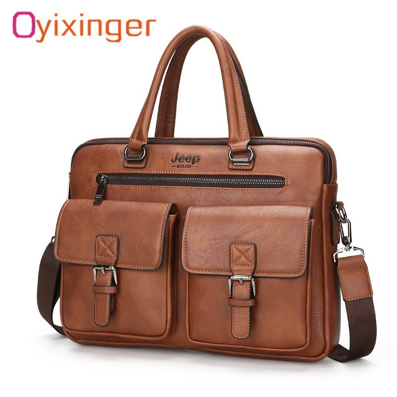 Oyixinger Fashion Men Leather Briefcases Bag Mens Business Handbag Zipper Bag Soft Handle 14.1 Laptops Briefcases Bags HombreOyixinger Fashion Men Leather Briefcases Bag Mens Business Handbag Zipper Bag Soft Handle 14.1 Laptops Briefcases Bags Hombre