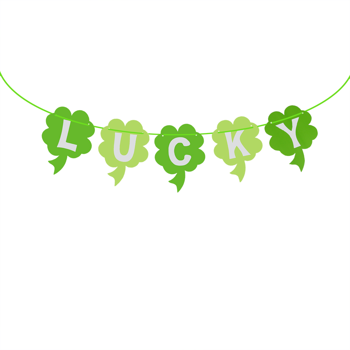 3 Meters Irish Green Shamrock Lucky Paper Banners Four Leaf Clover