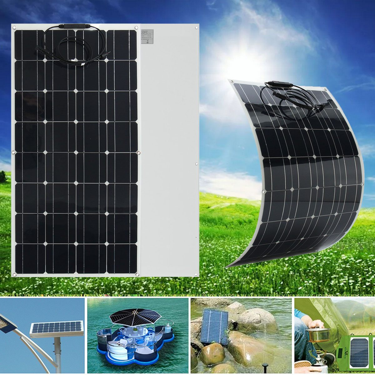 Claite 100W 12V Flexible Solar Panel Plate Solar Charger For Car Battery 12V Phone Battery Monocrystalline Cells 18V 100w 18v flexible monocrystalline silicon solar panel pv quality power 12v battery