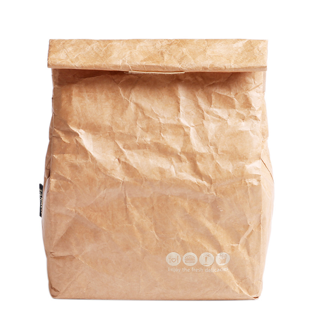 Foldable Leakproof Aluminum Foil Waterproof  Paper Reusable Lunch Bag Large Capacity Food Container Thermal Insulation