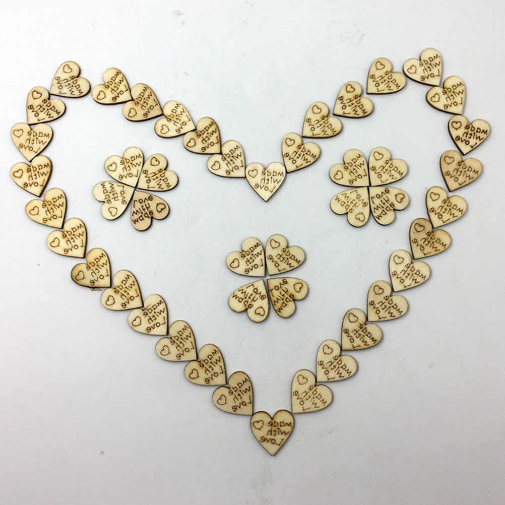 100 sztuk 20mm 0.78 cala rustykalny drewniany wzór miłość serca w kształcie drewna plastry rzemiosło na ślub dekoracja stołu