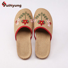 Suihyung New Women Breathable Flax Indoor Slippers Embroider Floral Linen Home F
