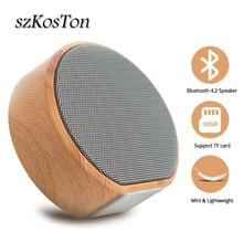 Wireless Bluetooth Speaker Wood Grain Portable Mini Soundbar Audio Subwoofer With Microphone 3.5mm Jack AUX Output TF Card
