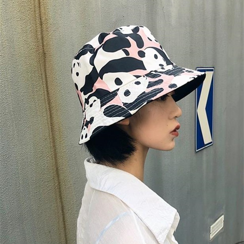 Devoted Chic Panda Fisherman Hat Woman Bucket Hats Harajuku Fashion Casual Lovers Ins Hats Two-sided Wear