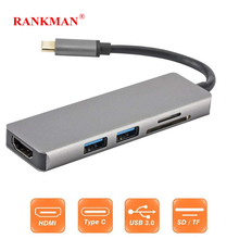 Rankman Type C USB3.1 Thunderbolt to USB3.0 HDMI Adapter SD/TF Card Reader Converter for MacBook Samsung S8 Huawei mate10 P20