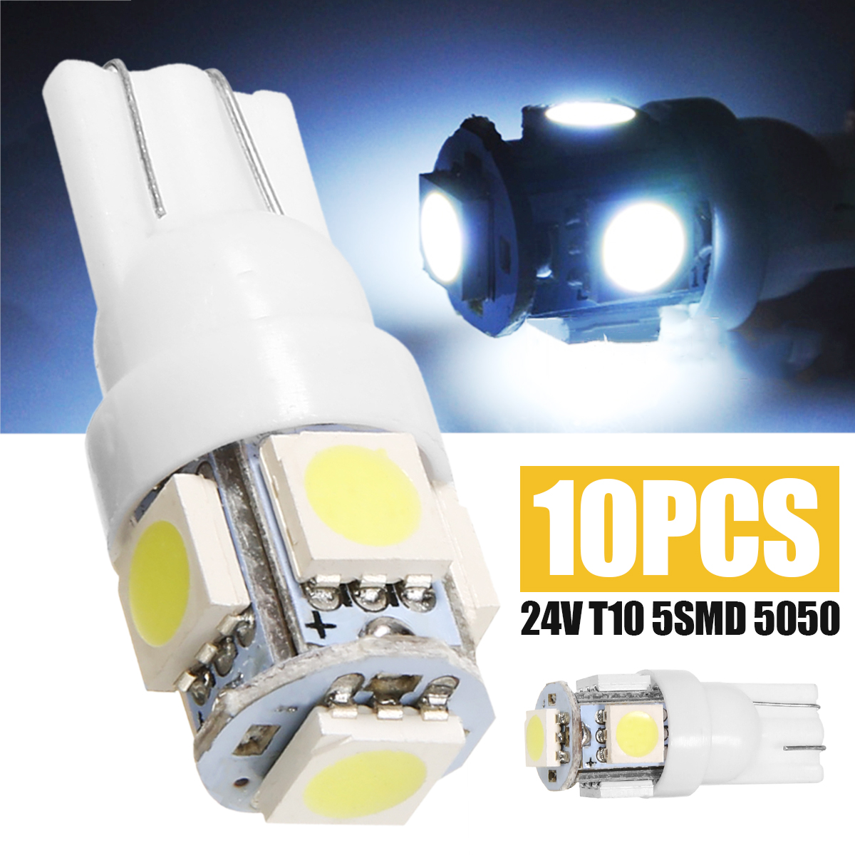 Car Light Source 10pcs 24V T10 194 147 W5W Width Reading Light 5SMD LED T10 5050 License Plate Light White Bulb