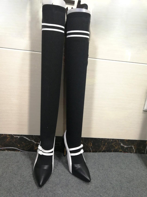 Genou Boot Sur Cuisse 10 Bottes Dames Talons Haute As Pic Chaussettes Pointu Zapatos Bout Sexy as Hauts Stretch Patchwork Le Blanc Noir Pic Cm IOEwcSPq