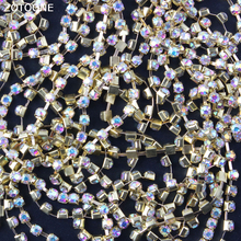 ZOTOONE Gold Motif Rhinestones Chain for Clothes Strass Claw Rhinestone Trim Glue DIY Nails Phone Stickers Sewing Accessories E