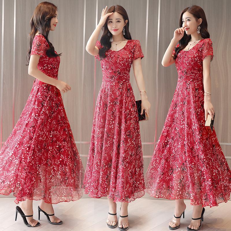 d5ca34087 red xxl Gasa Slim Vestido Star Nueva Coreana Con Mujer Verano De Cintura  Casuales blue Floral Moda ...