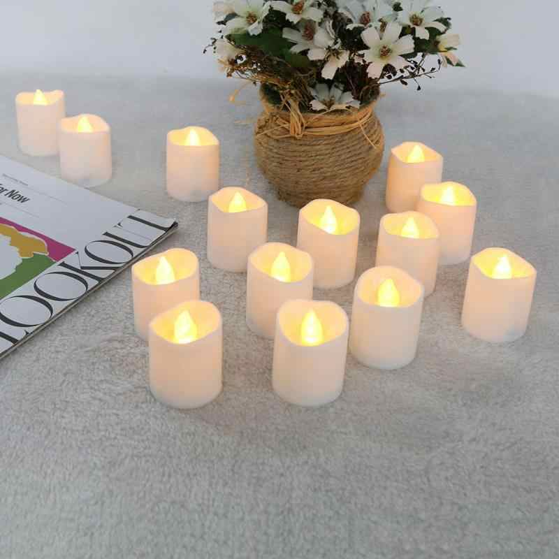 12pcs/set Warm LED Candle Light Flickering Tea Light Bulb Flameless Fake Candle Festival Wedding Celebration Decoration White