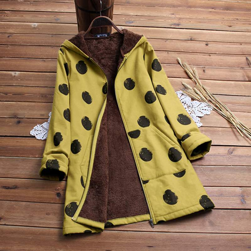 Long Sleeve Hooded 2019 Winter Women Coats Faux Fluffy Polka Dot Printed Pockets   Basic   Outerwear Thicken Warm Chaqueta Plus Size