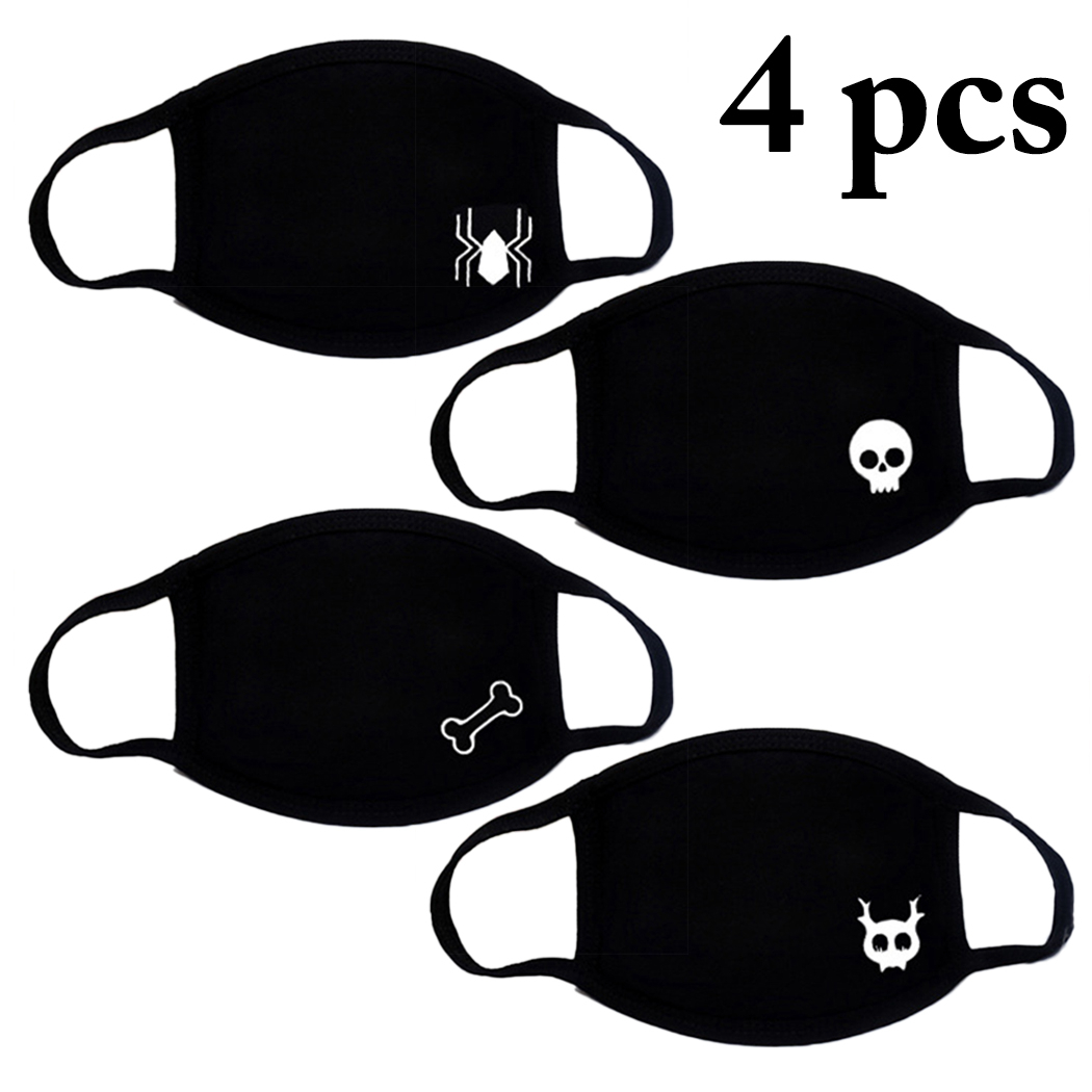 Hot 4pcs Cotton Mouth Masks Anti-dust Creative Fashion Women Men Winter Proof Warm Mouth Cover Half Face Mask Dropshipping