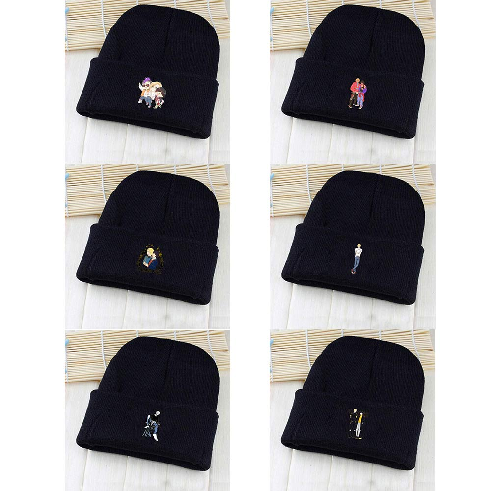 OHCOMICS Unisex Banana fish Lynx Aslan Jade Callenreese Pointy Hat Knitted Hat Cap Hip-Hop Beanies Solid Casual Caps Gift