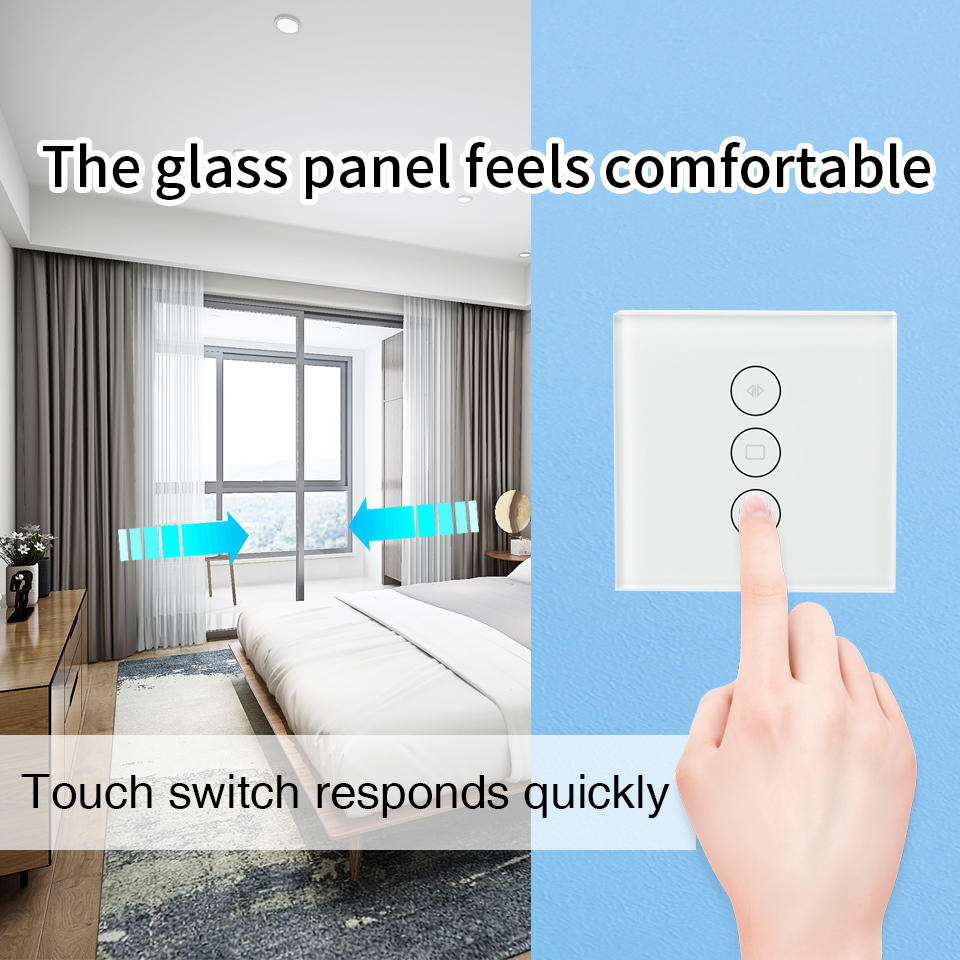 ELEG WiFi Smart Curtain Switch Glass Panel App Remote Control Works with Alexa and Google Home or Electric Curtain Motor