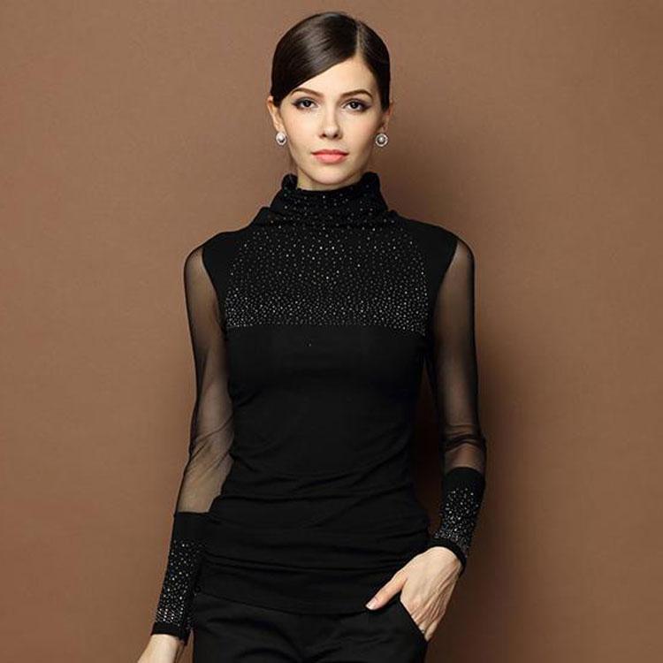 New Womens Tops Black Turtleneck Long Sleeve Blouse Mesh Slim Basic Tops Shiny Stud Top