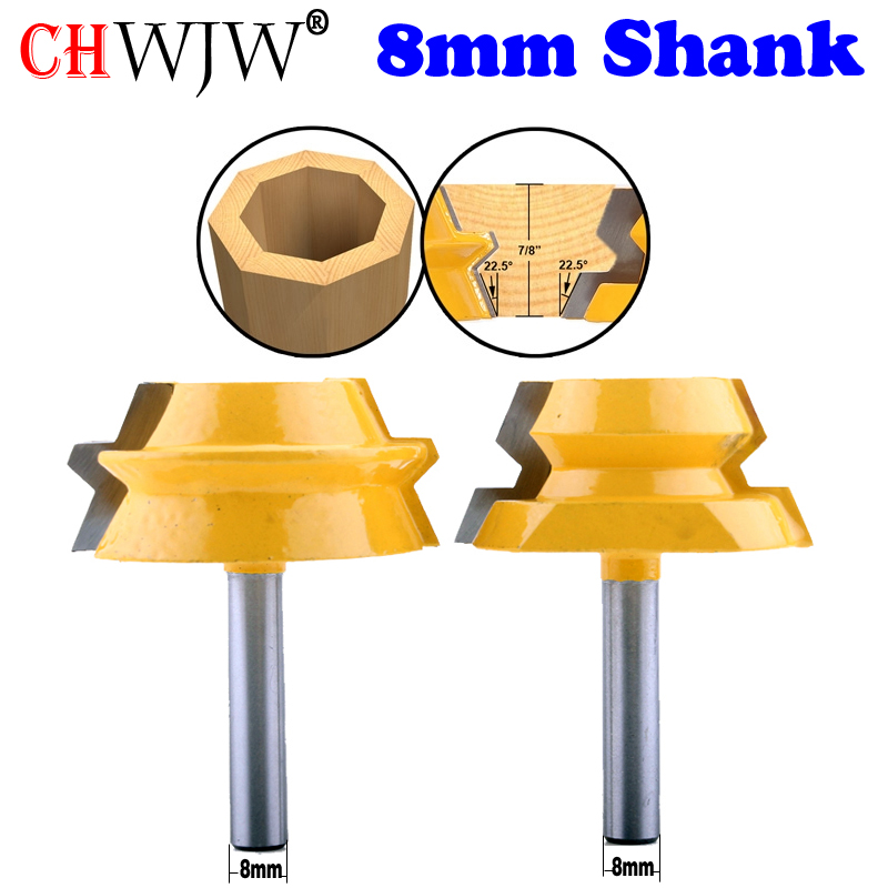 2PC 8mm Shank Lock Miter Router - 22.5 Degree Glue Joinery Router Bit Set Tenon Cutter For Woodworking Tools - CHWJW 15220
