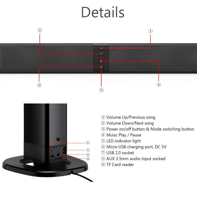 Home cinéma 20W Bluetooth barre de son Tv Aux optique Bluetooth barre de son haut-parleurs colonne barre de son avec haut-parleur Subwoofer pour Tv - 5