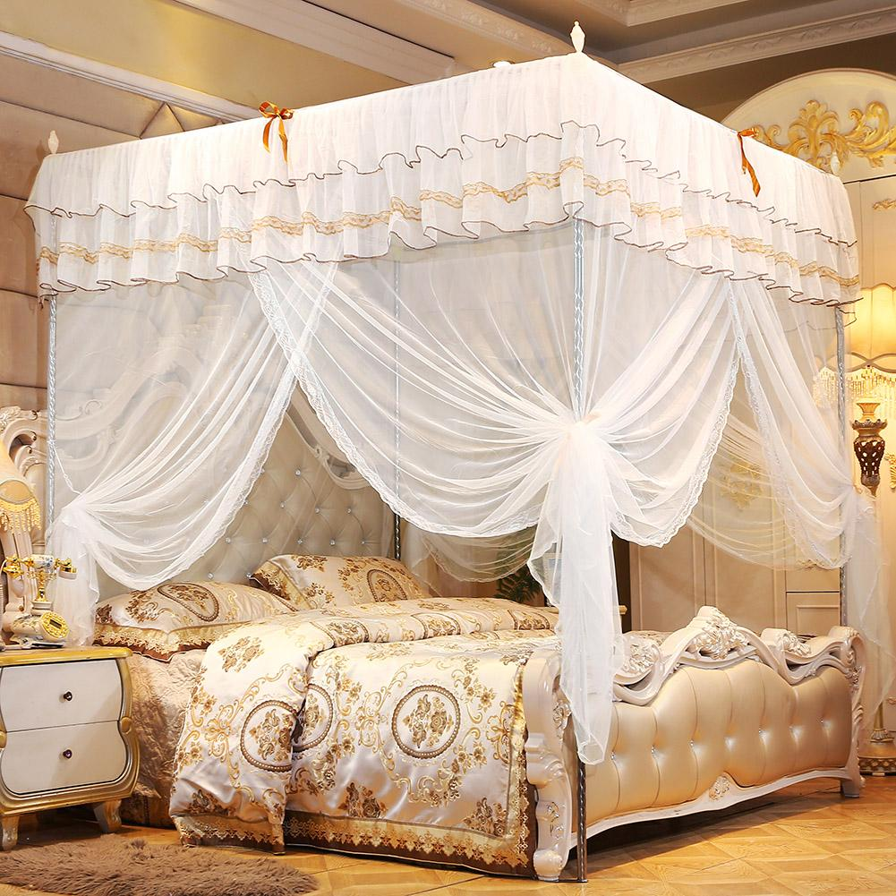 Bed Curtain Canopy Mosquito Netting Post Bedding Insect Net Twin Full Queen King