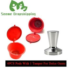 5PC Refillable Dolce Gusto Coffee Capsule Stainess Steel Tamper Set Nescafe Dolce Gusto Reusable Capsula Dolce Gusto Caps Filter