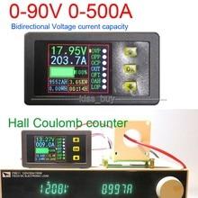 DC 90 โวลต์ 0 500A แบตเตอรี่ดิจิตอลเมตร Hall coulomb โวลต์แอมป์มิเตอร์ Ah เหลือความจุอุณหภูมิ charge discharge