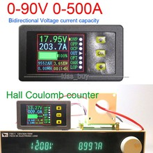DC 90 ボルト 0 500A バッテリモニタデジタルメーターホールクーロンボルト電流計電源ああ残容量温度充放電