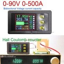 DC 90 v 0 500A Battery Monitor TESTER Digitale Sala coulomb Volt Amperometro Power AH Capacità Residua temperatura di scarico di carica