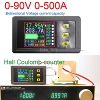 DC 90V 0 500A Battery Monitor Digital METER Hall coulomb Volt Ammeter Power AH Remaining Capacity temperature charge discharge