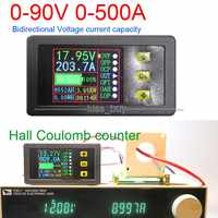 DC 90V 0-500A Battery Monitor Digital METER Hall coulomb Volt Ammeter Power AH Remaining Capacity temperature charge discharge