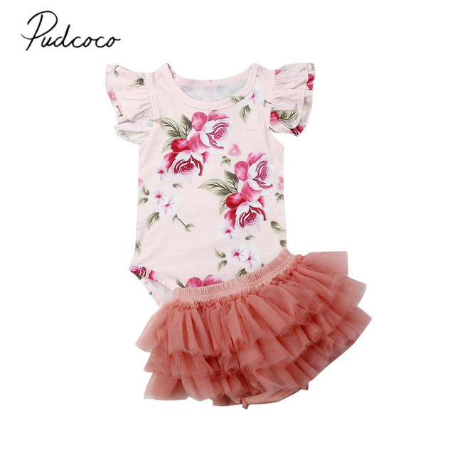 619cb5e0b77 2019 Children Summer Clothing Newborn Baby Girl Clothes Sets Sleeveless  Floral Romper+Lace Tulle Layered Skirts Outfits 2Pcs Set