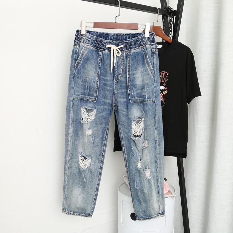 Spring Summer Fashion Loose Plus Size Jeans Women Ripped Hole Denim Pants Ladies Boyfriend High Waist Jeans For Women