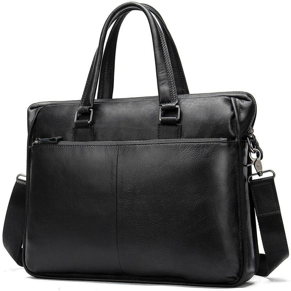 Luxury Briefcase Laptop-Bag Genuine-Leather Handbags Totes Crossbody-Bag Business Travel