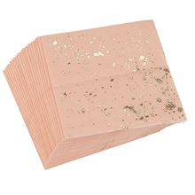 LBER Gold Blocking Pink Marble Texture Disposable Tableware
