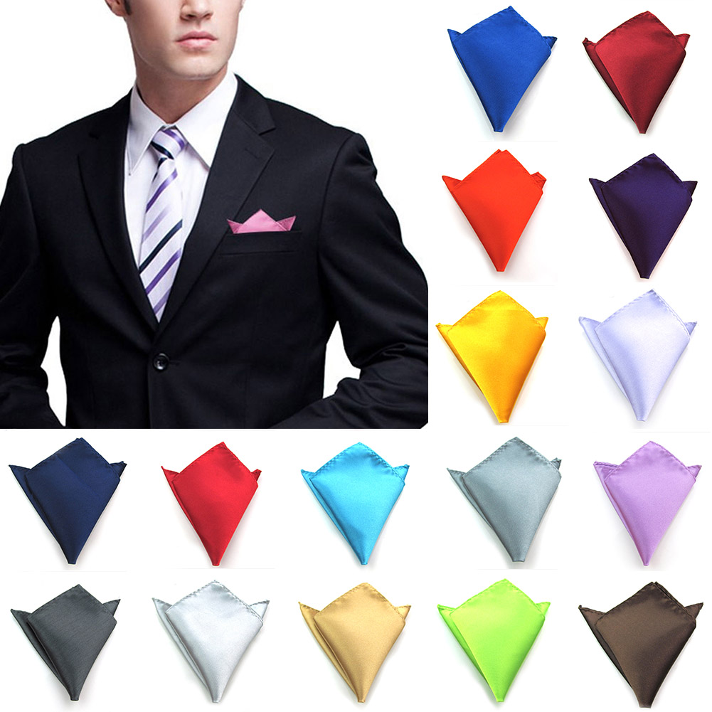New 29 Colors Men's Hanky Satin Solid Plain Suits Pocket Square Wedding Party Handkerchief