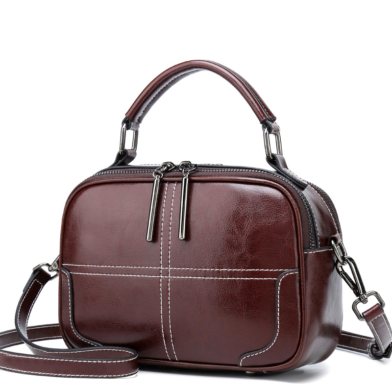 High Quality Real Cowhide Top Handle Messenger Women Bag Tote Handbag Casual New Fashion Genuine Leather