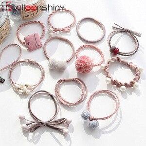 BalleenShiny 12 sztuk pluszowa piłka gumowa opaska z kokardą dziewczynek elastyczne gumki do włosów dzieci dzieci peruka perłowa krawat zestaw akcesoria do włosów