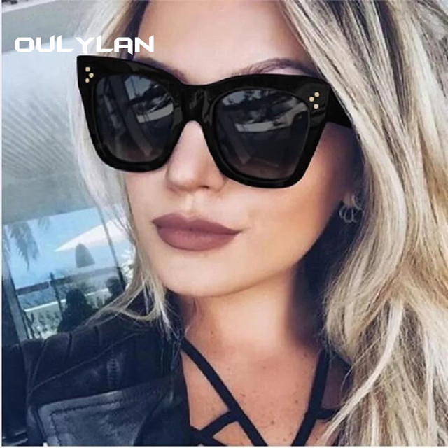 Oulylan Oversized Sunglasses Women Luxury Gradient Sun Glasses Retro Big Frame Shades Sunglass Female UV400