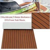 2500x1000x6mm Thickness Self Adhesive EVA Foam Faux Teak Decking Sheet Dark Brown Marine Boat DIY Car Protective Floor Carpet