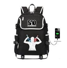 anime Sword Art Online backpack teenagers USB Charge students School book bag women men travel Shoulder Laptop Bags