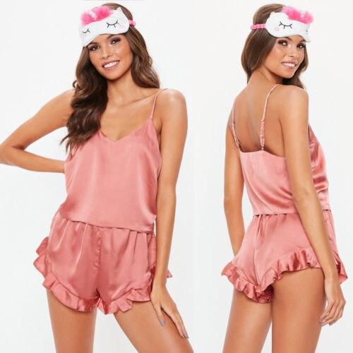 Women\\'S Sleepwear Sexy Satin Pajama Set Black Silk Babydoll V-Neck Pyjamas Sleeveless Cute Cami Top And Shorts Nightwear Sets