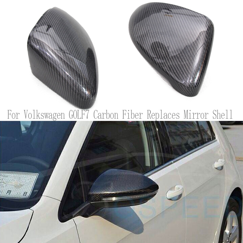 Real Carbon Fiber Replacement Mirror Cover For Volkswagen VW Golf 7 VII Golf7 GTI MK7 R