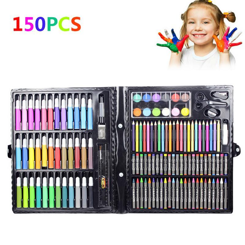 150pcs Kids Drawing Painting Sketching Tools Set Water Color Pen Crayon Oil Pastel Paint Brush Drawing Pens Art Sets Gifts