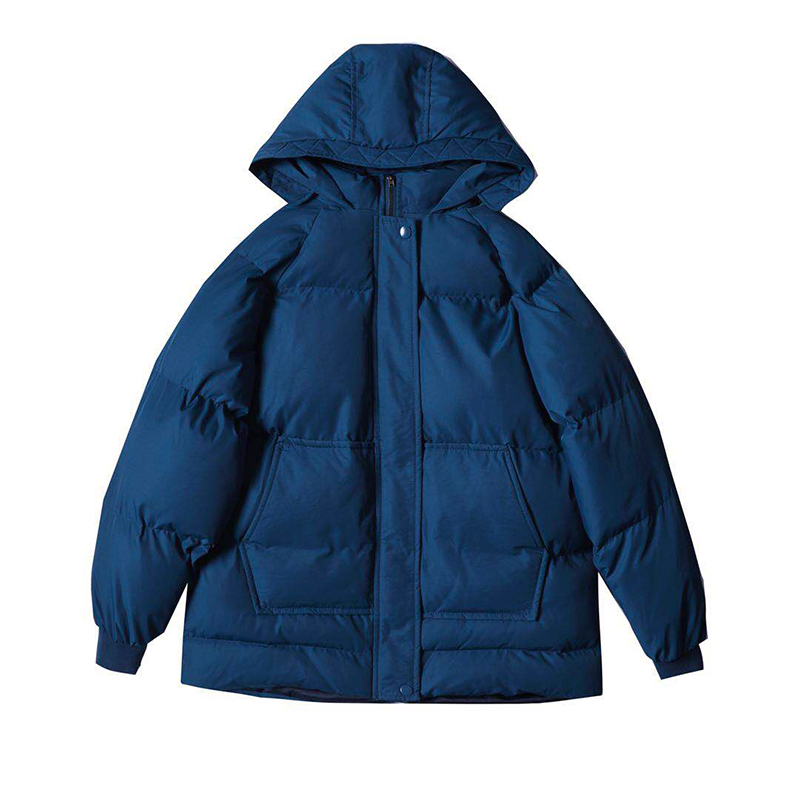 Korean Women Winter Parka Coat Blue White Black Green Short Cotton Jacket Warm Outwear With A Hood New Oversize Clothes