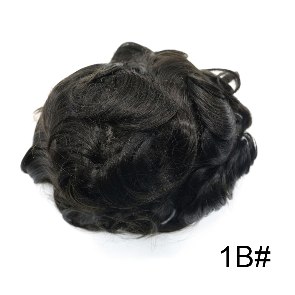 Newness Hair Men Hairpieces Fine Mono PU Mens Toupee With Natural Lace Frontline Remy Human Hair Males Wig(P1-3-5 & 1B# 1#)