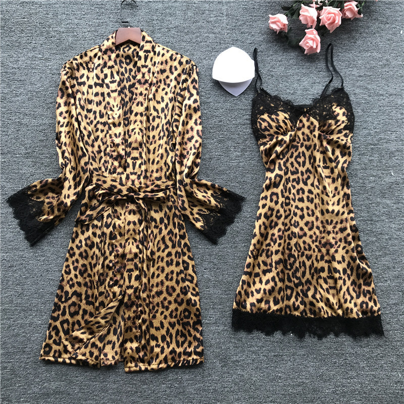 Summer Sexy Leopard Print Lace Camisole Nightdress+Cardigan Twinset Robe Suit Long Sleeve Sleepwear