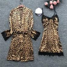 Été Sexy imprimé léopard dentelle caraco chemise de nuit + Cardigan Twinset Robe costume à manches longues vêtements de nuit