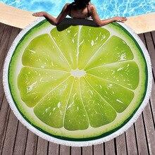 Апельсин, лимон, арбуз, помидоры, напечатаны, большой круглый пляжное полотенце, микрофибра, servette De Plage, плотная махровая ткань