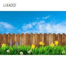 Laeacco Wooden Board Grass Cloudy Backdrop People Portrait Photography Background Custom Photographic Backdrops For Photo Studio