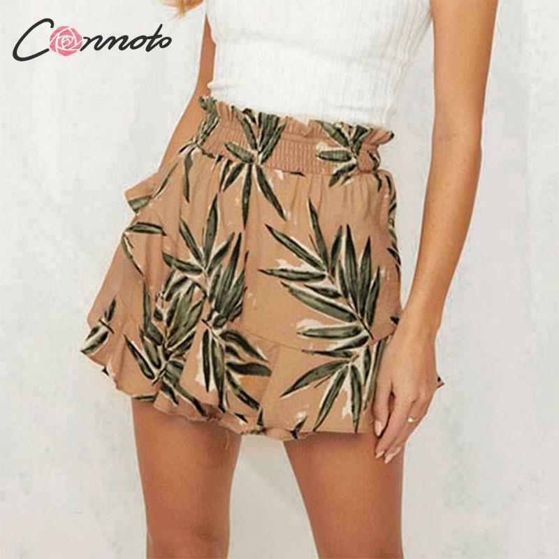 3b09a8ece Conmoto moda Boho imprimir pantalones cortos mujeres verano 2019 alta  cintura volante falda Shorts ...