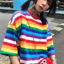 Xnxee Harajuku BF Style Loose Camisetas Vintage Rainbow Striped T Shirts Women 2018 Summer New Arrivals Fashion T-shirt 68087